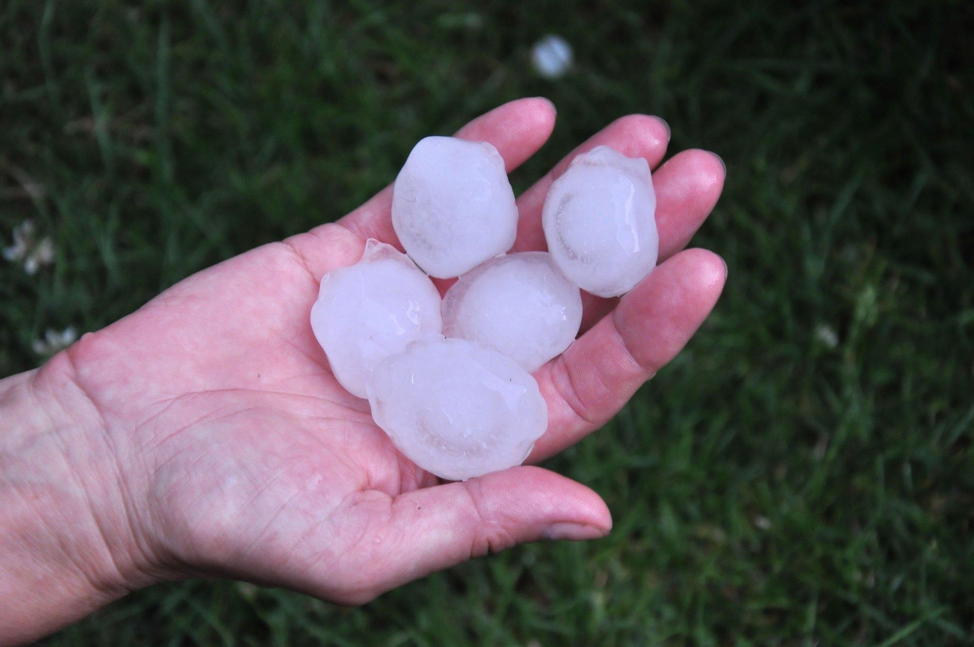 Big hailstone on the hand
