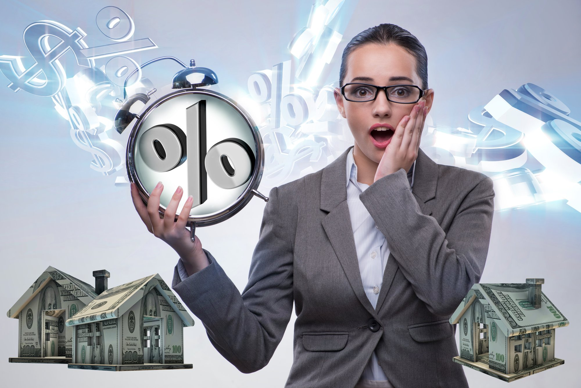 Businesswoman suprised about high interest mortgage rates, market analysis