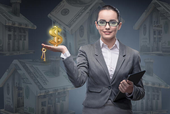 A woman in a suit holding keys in her fingers and a dollar sign in her hand, Market Analysis