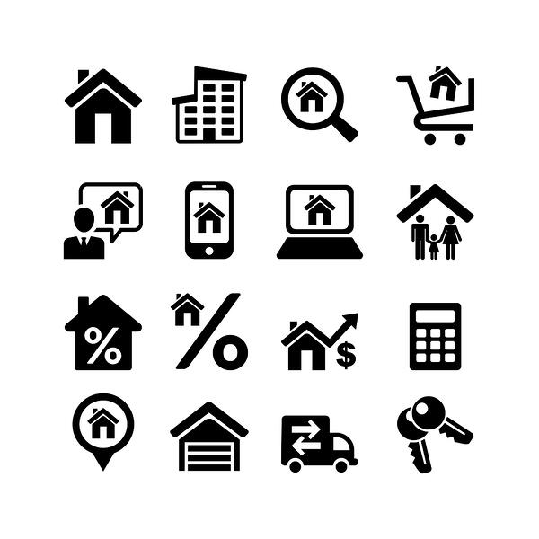 Property management icons with houses, apartments phone searches moving trucks investment real property management