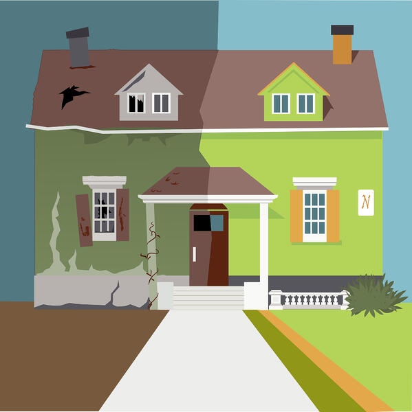 Illustration of a green house with the left side falling into disrepair and the right side is well maintained and bright Manage A Rental Property