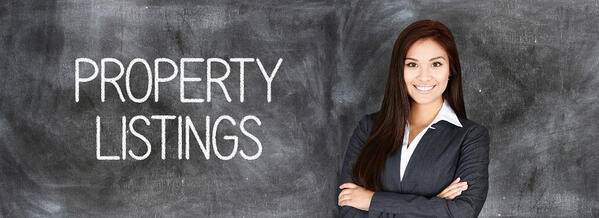 """A woman in front of a chalkboard with """"property listing"""" written on it Property Investment"""
