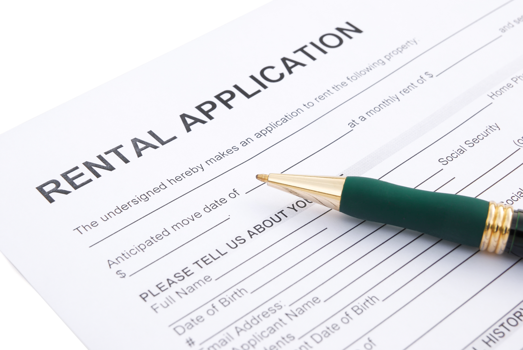 Rental agreement close up, rental property