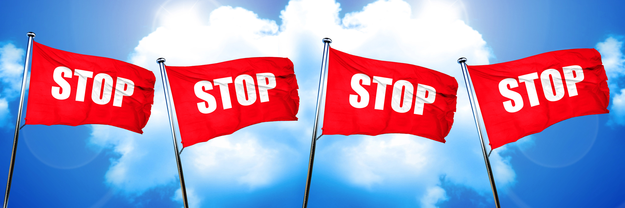 Stop sign flag, 3D rendering, red flags